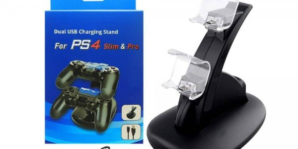 HUACAM PS4 PS4 Slim PS4 Pro Controller Ladestation,Dual USB Charging Charger Docking Station (5)